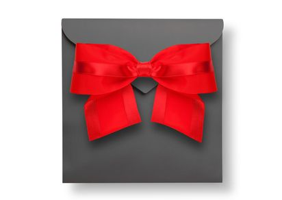 Gray envelope with red bow and shadow (clipping path)